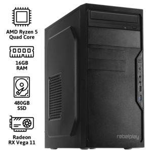 REBELPLAY® Desktop PC - Ryzen 5 - 16GB RAM - 480GB SSD - WiFi