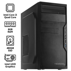 REBELPLAY® Desktop PC - Core i3 - 8GB RAM - 480GB SSD - WiFi