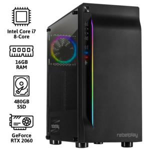REBELPLAY® Gaming PC - Core i7 - RTX 2060 - 16GB RAM - 480GB SSD - RGB - WiFi
